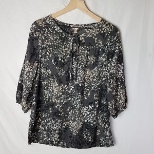 Tunic Top Black Leaf Print - Small 4-6